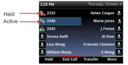 If your phone is idle, you can press a line key to access the Dialler. If your phone has calls, the phone line indicates the number of calls you have, and if they re active or held.
