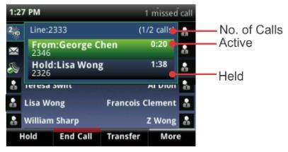 The number of total calls is shown above the calls.