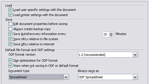Choosing options for loading and saving documents You can set the Load/Save options to suit the way you work.