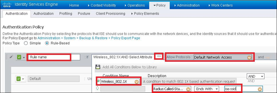 1x clients and with Called-Station-ID and ends with ise-ssid as shown in the image.