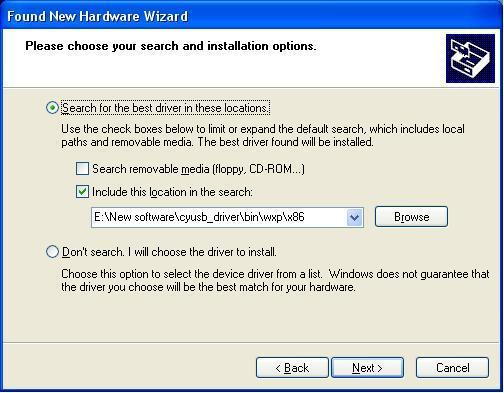 Use the browse function to find this file. Figure 13 Hardware wizard.