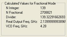Figure 26 Calculated Values for Fractional Mode To properly select the VCO Capacitance click Tune after Calculate. If you want to observe the VCO capacitor selection algorithm results select Log.