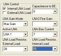 Internal/External LNA load tick boxes use internal. Capacitance to BE leave as default (0) LNA Gain Mode selects LNA gain, Max, Mid and Bypass.