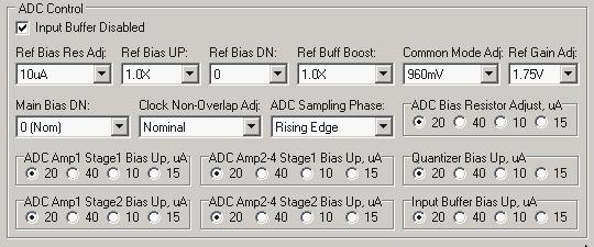 Figure 51 ADC/DAC Reference control default settings ADC Control Use default settings with following exceptions: Ref Bias Res Adj = 10uA (minimizes ADC noise) Common mode Adj