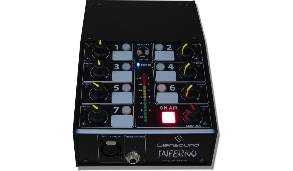 Inferno Commentators Box Key Points Inferno Commentators Box Single user box System is scalable with multiple commentators as part of a Dante network Can connect to any Dante compatible network.