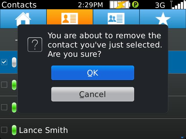 To delete a contact, you can also use the menu key to open the primary menu and select the delete option.