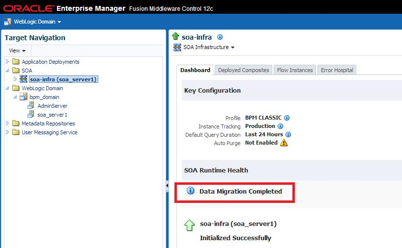 Monitoring Upgrade Status with Fusion Middleware Control Figure 9 1 SOA Runtime Health: Data Migration Completed Click Data Migration Complete and