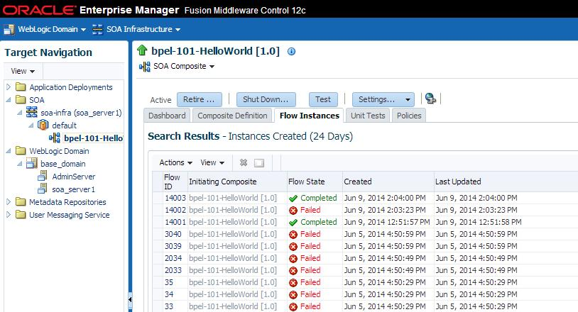 Monitoring Upgrade Status with Fusion Middleware Control Figure 9 7 Using the composite level to view instances that faulted during upgrade NOTE: Use Search