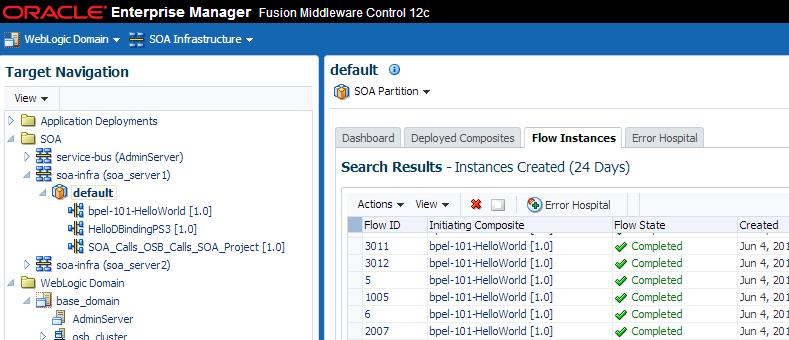 Resolving Instance Upgrade Errors Figure 9 8 Using the partition level to see instances created prior to upgrade 9.