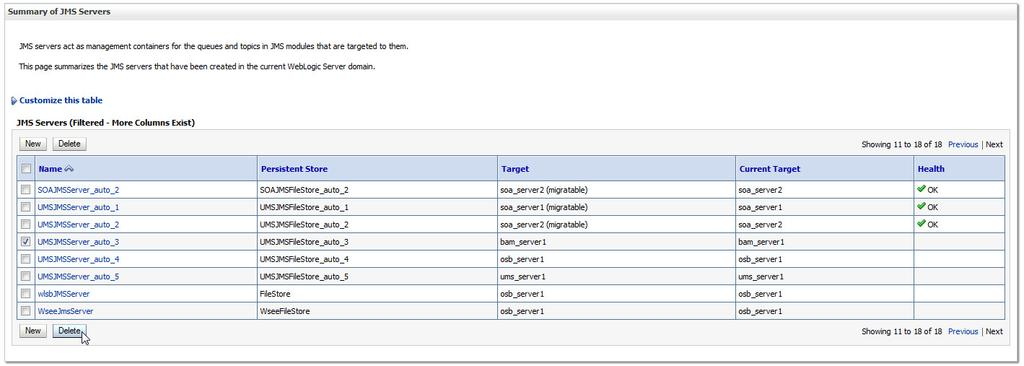 Post-Upgrade Configuration Tasks 1. Navigate to the Summary of JMS Servers screen (shown below).
