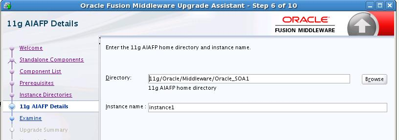 "6, ""Upgrading the Domain Component Configurations Using the Upgrade Assistant"", you will have to enter the 11g AIAFP directory location and Instance name in the 11g AIAFP Details screen as shown"