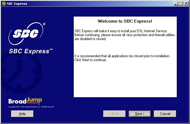 4-3 SBC Express displays the Welcome screen. Click Next to proceed. 4-4 SBC Express displays the license agreement.