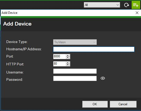 Add device If a TruVision IP device connected to the network does not appear in the Device Manager s list of discovered devices, it can added by clicking the Add Device button.