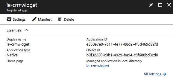 1. Cpy the Applicatin ID, yu will need this later in the setup 2. Click n Required permissins 3. Click Add -> Select an API -> Dynamics CRM Online -> Select 4.
