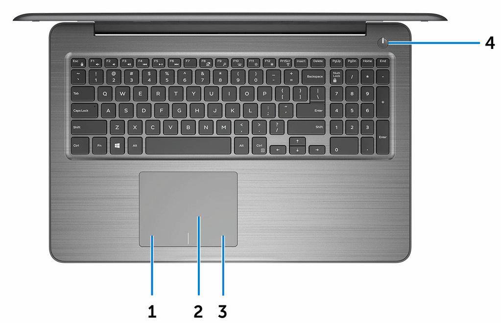 Base 1 Left-click area Press to left-click. 2 Touch pad Move your finger on the touch pad to move the mouse pointer. Tap to left-click and two finger tap to right-click.