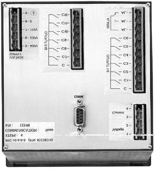 Wiring Rear Panel Plug A - Voltage & Current measurement inputs. Plug B - Supply Voltage (115, 230 or 400V) Plug C - Output Relays for Capacitor steps 1-6 and alarm contact.