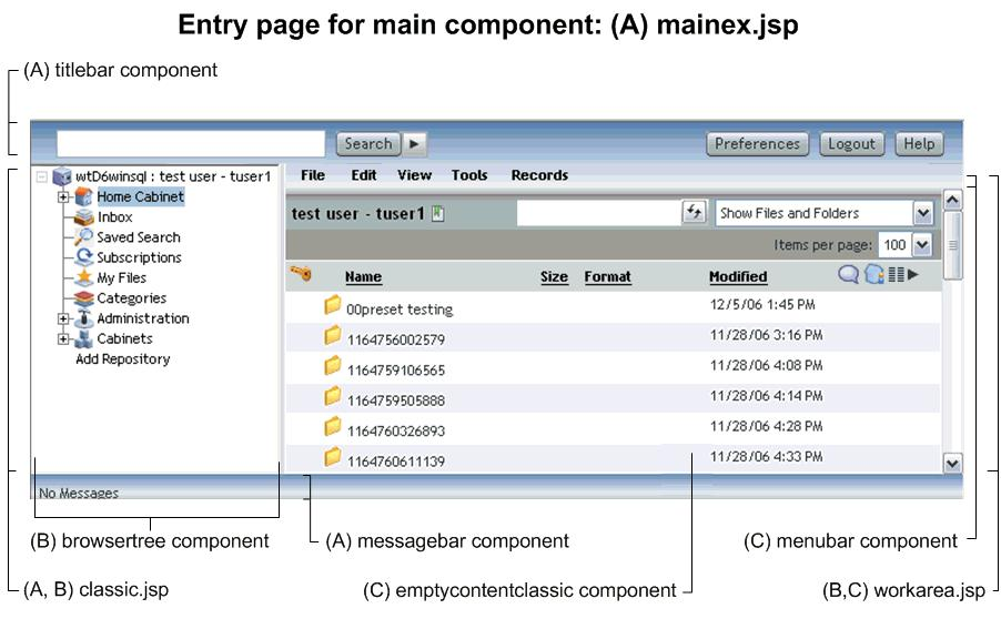 Configuring and Customizing Webtop Webtop views The main component definition (webtop/config/mainex_component.xml) specifies the start page as webtop/main/mainex.jsp. Webtop 5.3.