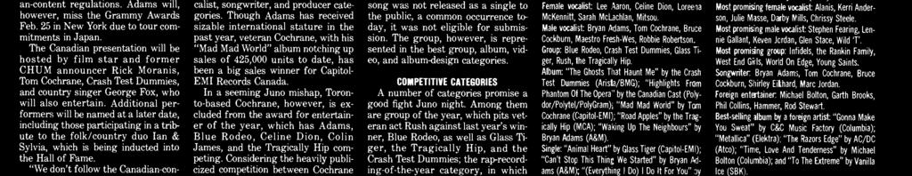 Could you imagine the Juno Awards with Bryan Adams not qualifying in several of the categories? I couldn't.