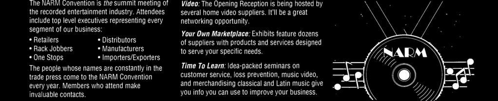 Opening Reception is being hosted by several home video suppliers. It'll be a great networking opportunity.