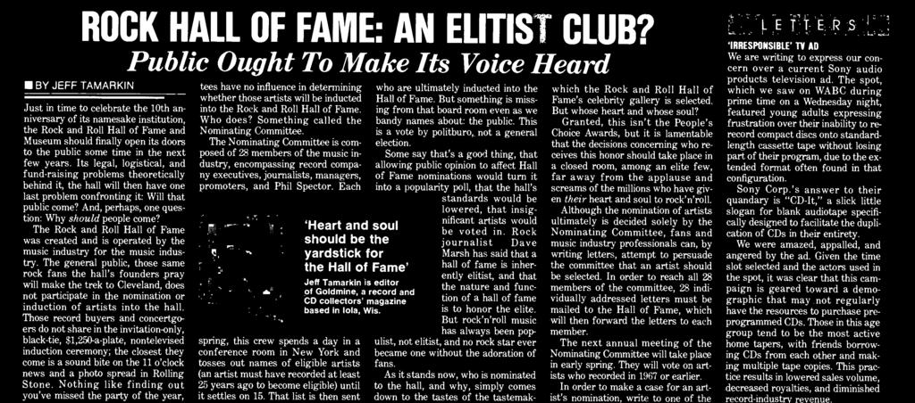 ROCK HALL OF FAME: AN ELITIST CLUB?