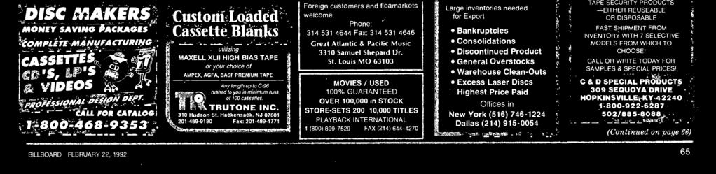 CALL FOR CATALOG 1-800-468-95 SERVICES COMPLETE CD AND CASSETTE PRODUCTION L7r 1 TAL 212--5950 Payment must be enclosed with your ad copy. Send to Billboard Classified, 1515 Broadway, NY,NY 1006.