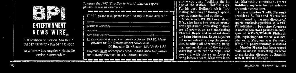"This noted reference work is printed on computer paper, and bound in an easy -to -use notebook. Order the 1992 ""This Day in Music Almanac"" TODAY, exclusively from the BPI Entertainment News Wire!"