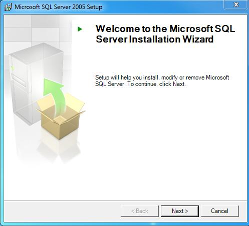 ekraan Welcome to the Microsoft SQL