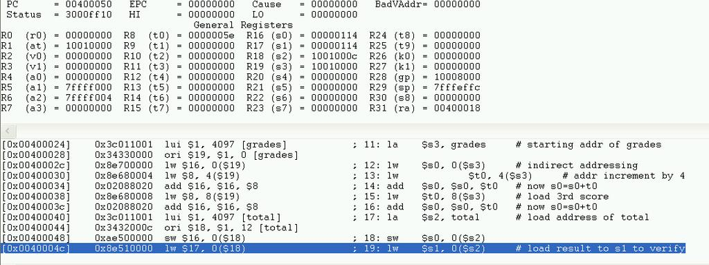 Example of Load/Save Data Program 3 students grades are saved in the memory, compute its sum and store at the end of array: Grades = [94 90 83], store 94+90+83 at Total Use store register value to
