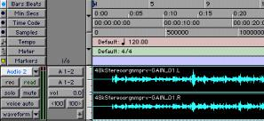 Stereo audio track in the Mix window Tracks in the Edit Window In the Edit window, tracks are displayed horizontally along the Timeline.