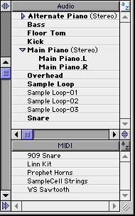 Regions Lists All regions that are recorded, imported, or created by editing appear in the Audio and MIDI Regions Lists. Regions can be dragged from either list to tracks and arranged in any order.