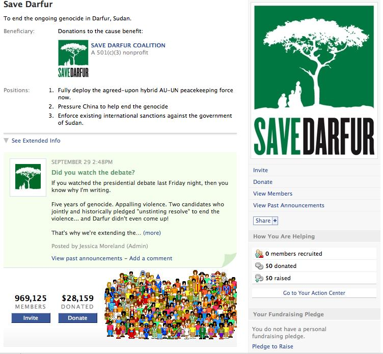 What s possible? Save Darfur: 10 Days to $415,000 (hint: it wasn t through Facebook) Power of Email vs.
