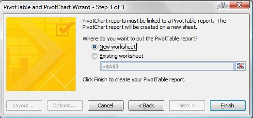 11. Click Next. 12. Select New worksheet from Step 3 of the PivotTable and PivotChart Wizard, and then click on Finish.