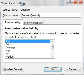 10. You should now see Category listed under the Axis Fields area and Sum of Quantity under Values. In this case, this is what we want to analyze in our PivotTable.