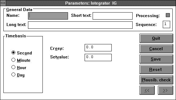 INTEG Integrator Icon and Functionblock Library Parameter definition as of 3.4.0 Function The module sums up the signal at IN and outputs it at OUT. The time base is set as a parameter in the module.