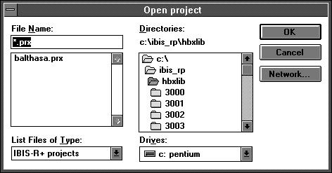 2.2 Loading (opening) a project with Project Open project. You can use the dialog box to select the project name, drive and directory from which you want to load the project.