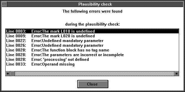5.12.17 Checking the plausibility of the program If something was missed, forgotten or entered incorrectly during program input, the plausibility check supplies the formal warning and error messages,