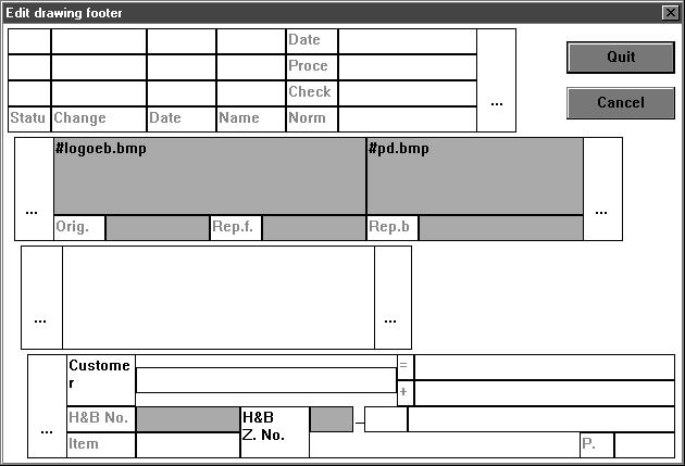 Extension of documentation Foot of drawing Z-19355 The documentation module provides the possibility to display bitmaps in the plotted windows (Windows *.BMP).