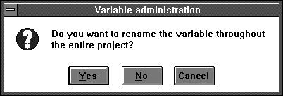 5.4.2 Changing variables entries If changes are made with existing variables, then these may affect the various programs. To avoid errors, the programs concerned are listed when such changes are made.