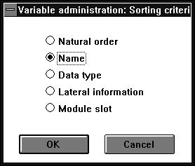 5.4.6 Sorting with Variables list or Loop tag list Sort select sorting criteria [Ok] (abort the action with mouseclick