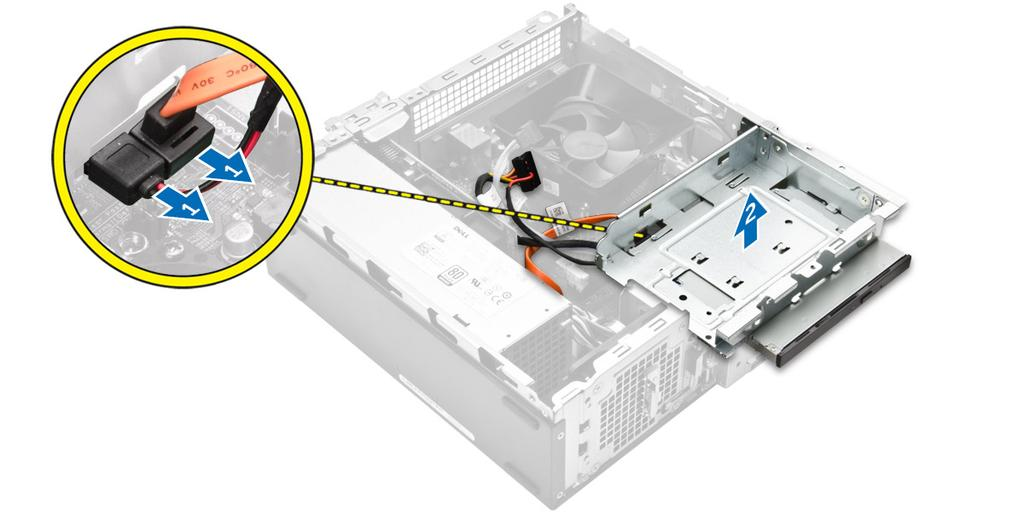 Figure 6. 4. Follow the steps to remove the optical drive: a.