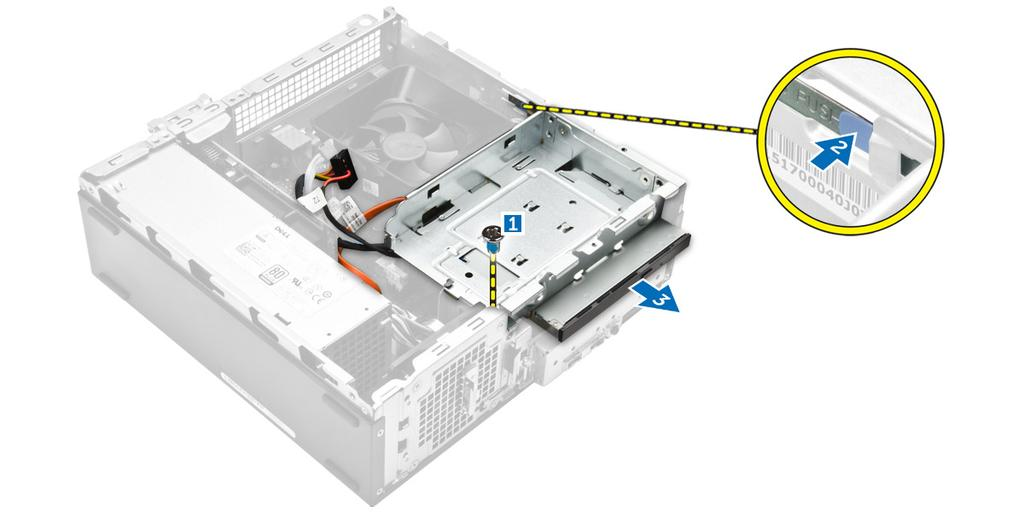 Figure 7. 5. Follow the steps to remove the bracket from the optical drive. a.