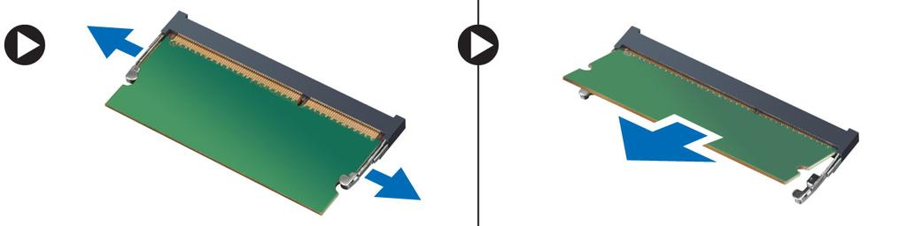 Figure 11. Installing the memory 1. Align the notch on the memory card with the tab in the memory connector. 2.