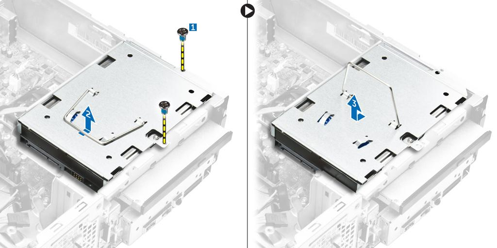 Figure 3. 4. Follow the steps to remove the hard drive assembly: a. Remove the screws that secure the hard drive to the drive ba