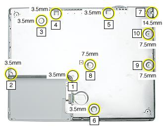 Procedure 1. With the computer on a soft cloth, remove the following screws from the bottom shield: Six identical 3.5-mm long Phillips screws Three identical 7.5-mm long Phillips screws One 14.