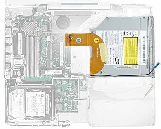 Preliminary Steps Before you begin, remove the following: Battery Keyboard and RAM shield AirPort Extreme Card Memory Bottom case Bottom shield DC-in board Top case Top shield Procedure 1.