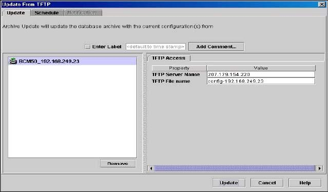 134 Using the file management folder Updating configuration files from a TFTP directory To update a configuration file archive from a TFTP directory 1 In the navigation pane, select the File