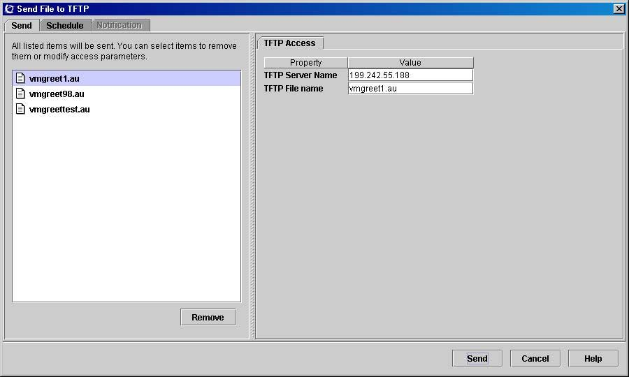 166 Using the file management folder Sending common files to an TFTP server In addition to sending files to BCM devices, you can send files to a TFTP server directory.