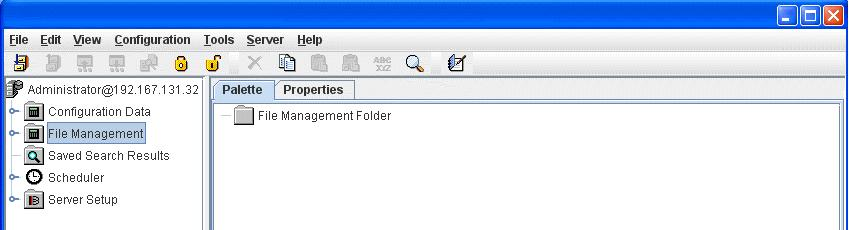 templates when the File Management folder is selected in the navigation pane. Figure 7 shows the Palette tab when different folders are selected in the navigation pane.