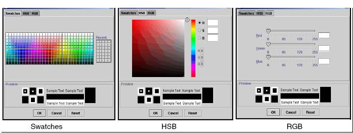 Client environment 61 Figure 23 Setting color with swatches, HSB, or RGB methods f Close the Color dialog box using one of the following methods: Click OK to set the change, close the dialog box, and