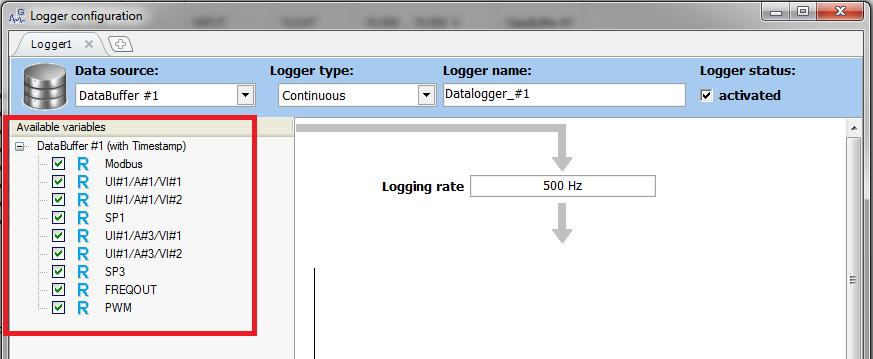 13. The Logger Configuration window will appear. 14. It is possible to add or delete a logger: A maximum of 20 x loggers can be created in a single Q.station. 15.